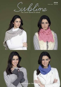 Scarf, Snood, Wrist Warmer and Shawl in Sublime Luxurious Tweed DK - 6104
