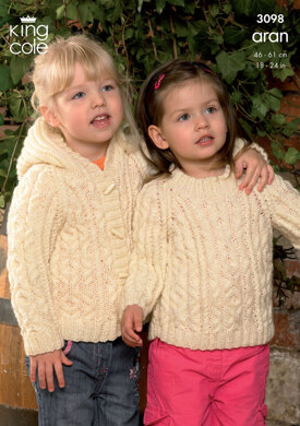Sweater, Hooded Jacket and Coat Knitted in King Cole Fashion Aran - 3098