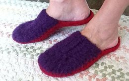 8-Row Felted Slippers, Crochet Scuffies