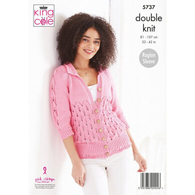 Ladies Sweater and Cardigan in King Cole Cottonsoft DK - 5737 - Leaflet