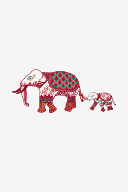 Indian Elephant in DMC - PAT0454 -  Downloadable PDF