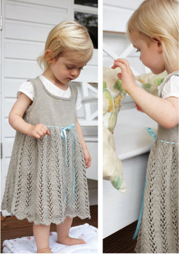Ribbon Tie Dress in Debbie Bliss Eco Baby - CF06