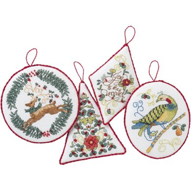 Bucilla Hallmark Counted Cross Stitch Ornaments Kit  - Holiday Blooms (14 Count)
