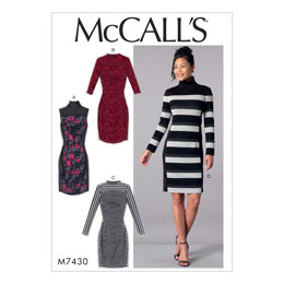 McCall's Misses' Knit Side-Panel Dresses with Yokes M7430 - Sewing Pattern