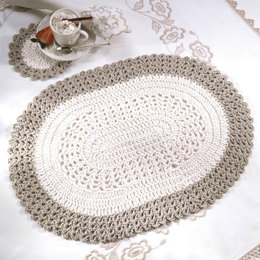 Oval Placemat & Coaster in Red Heart Eco-Cotton Blend Solids - WR1675 - Downloadable PDF