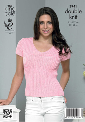 Ladies' Simple Rib Cardigan and Top in King Cole Smooth DK - 3941