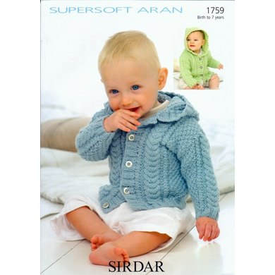 Hooded Jacket in Sirdar Supersoft Aran - 1759