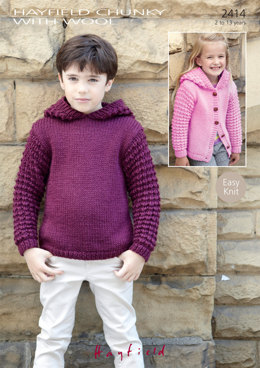 Sweater and Jacket in Hayfield Chunky with Wool - 2414 - Downloadable PDF