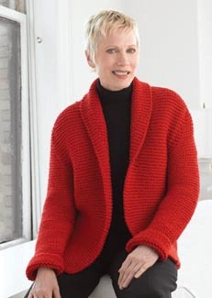 Red Hot Sweater Jacket In Lion Brand Wool Ease Chunky