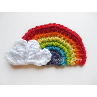 Rainbow with Heart Clouds Applique