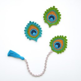 "Crochet Peacock Feather ""Burma"" Motif and BOOKMARK"