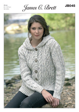 Ladies' Hooded Jacket in James C. Brett Rustic with Wool Aran - JB045