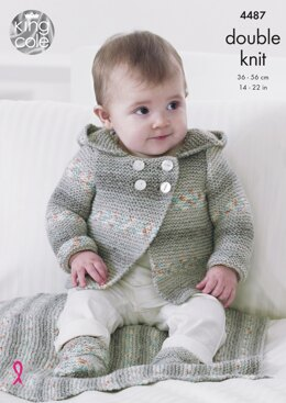 Hooded Jacket, Blanket & Bootees in King Cole Drifter For Baby DK - 4487 - Downloadable PDF