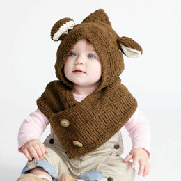 Hooded Knit Bear Cowl in Bernat Baby Blanket Tiny - Downloadable PDF