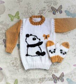 Panda Sweater and Mittens