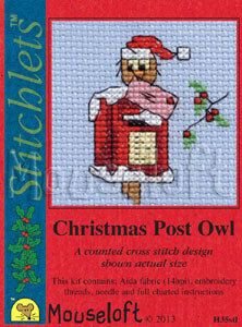 Mouseloft Christmas Card Stitchlet - Christmas Post Owl Cross Stitch Kit