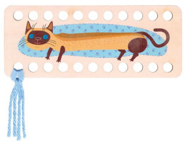 RTO Yarn Holder - Rectangular Printed Cat Blue