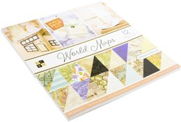 """American Crafts DCWV Double-Sided Cardstock Stack 12""""X12"""" 36/Pkg - World Maps W/Foil Accents"""