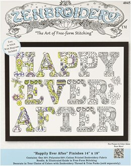Design WorksZenbroidery Happily Ever After Cotton FabricEmbroideryKit