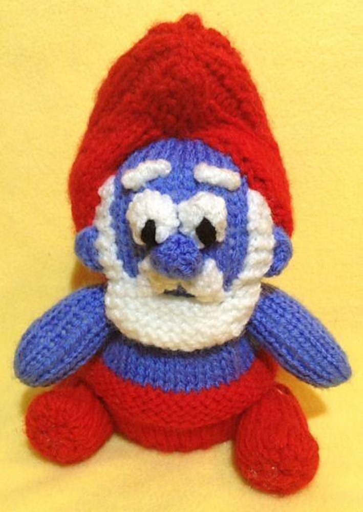 Papa Smurf Choc Orange Cover / Toy Knitting pattern by Andrew Lucas