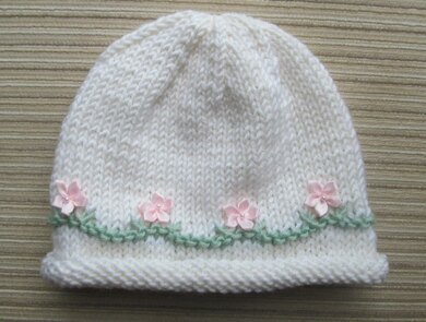 White Hat with Pink Flowers for a Girl in Sizes 6 months and 2-4 years