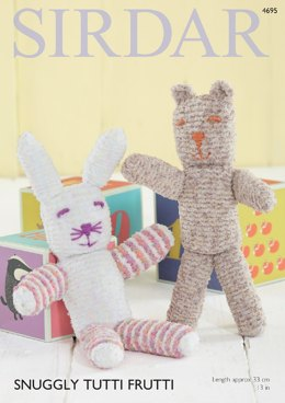 Bear and Rabbit Toys in Sirdar Snuggly Tutti Frutti - 4695- Downloadable PDF
