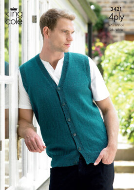 Slipover & Waistcoat in King Cole 4 Ply - 3421