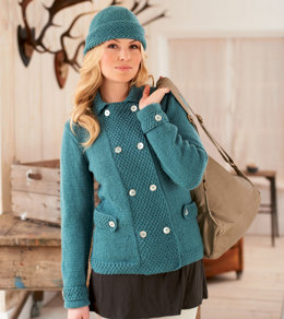 Double Breasted Jacket and Hat in Rico Essentials Soft Merino Aran - 185 - Downloadable PDF