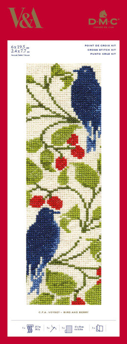 DMC The V&A - Bird and Berry - C.F.A Voysey Bookmark - 6cm x 19.5cm