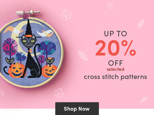 Up to 20 percent off selected cross stitch patterns!