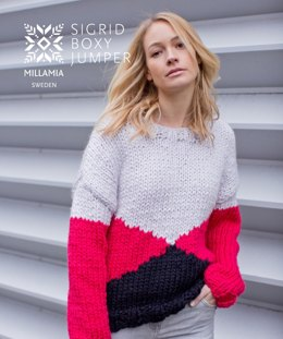 """Sigrid Boxy Jumper"" - Jumper Knitting Pattern For Women in MillaMia Naturally Soft Super Chunky"