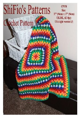 Granny Square Afghan Crochet Pattern #338