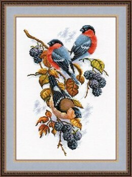 Oven Bullfinches & Blackberries Cross Stitch Kit
