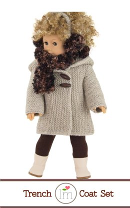 Winter Trench Coat with accessories, Doll Clothes Knitting Pattern