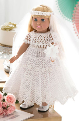 Doll Wedding Dress in Aunt Lydia's Classic Crochet Thread Size 10 Natural - LC4576 - Downloadable PDF