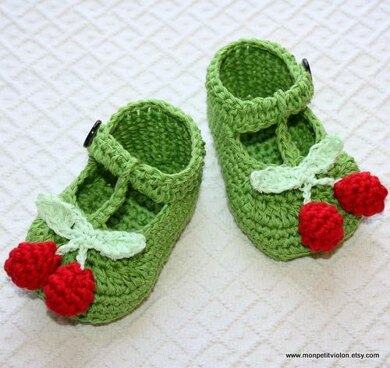 T-strap Cherry Baby Booties