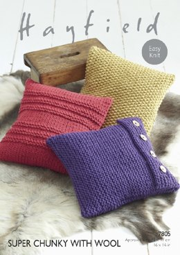 Cushions in Hayfield Super Chunky With Wool - 7805- Downloadable PDF