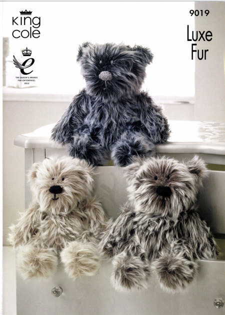 King Cole Teddy Bear Knitting Pattern : Luxe Fur Bears in King Cole Big Value Aran and Luxe Fur - 9019