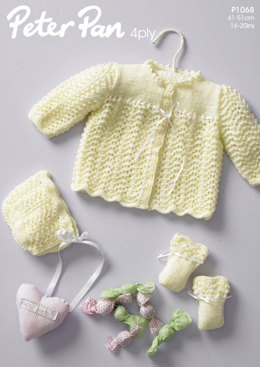 Jacket Bonnet & Mitts Babies Set in Peter pan 4ply - 1068