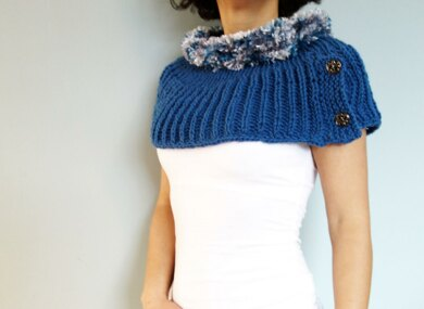 Rolled Collar Furry Capelet