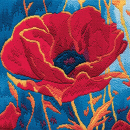 Derwentwater Designs Poppy Head Long Stitch Kit - 20.5 x 21.5cm