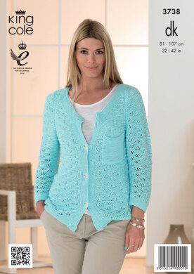 Womens' Cardigan and Sweater in King Cole Cottonsoft DK - 3738