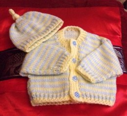 Stripe Cardi and Matching Beenie Hat and Boots 0-3mths