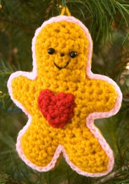 Gingerbread Boy with Heart in Red Heart Super Saver Economy Solids - LW2260