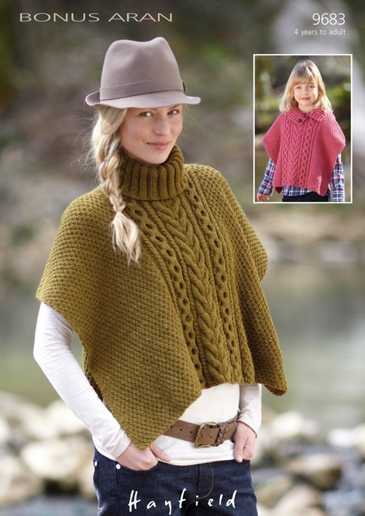 Cable Detail Poncho in Hayfield Bonus Aran with Wool - 9683 ...