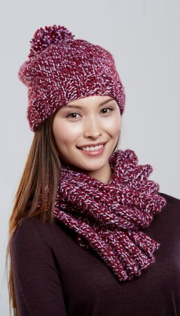 Jackie's Hat and Scarf Set in Premier Yarns Serenity Marl - SMJAS002 - Downloadable PDF