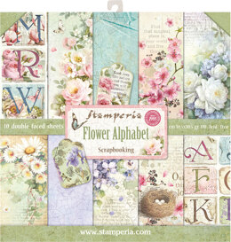 "Stamperia Intl Stamperia Double-Sided Paper Pad 12""X12"" 10/Pkg - Flower Alphabet, 10 Designs/1 Each"
