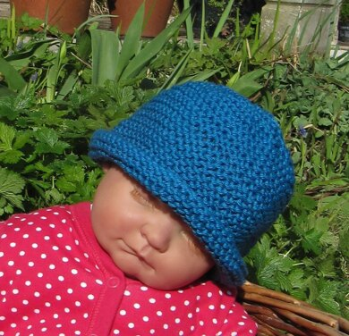 199da771042 Baby Simple Garter Stitch Roll Brim Beanie Hat Knitting pattern by ...