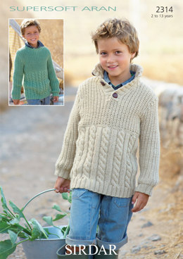 Round Neck and Stand Up Neck Sweaters in Sirdar Supersoft Aran - 2314