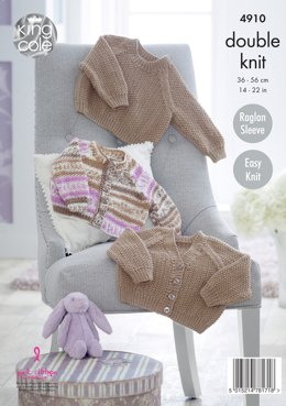 Baby Raglan Cardigans & Sweater in Moss Stitch in King Cole Cherish & Cherished DK - 4910 - Leaflet
